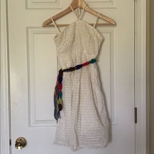 Anthropologie white dress with belt Size 00P